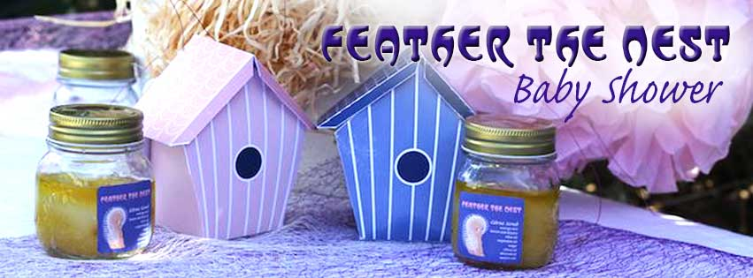This is an image of the Feather the nest editable labels from Printable Party Ideas.