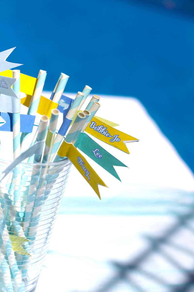 This is an image of pool party drink flags.