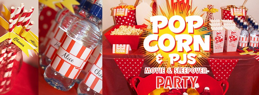 This is an image of Popcorn and PJs movie sleepover party.